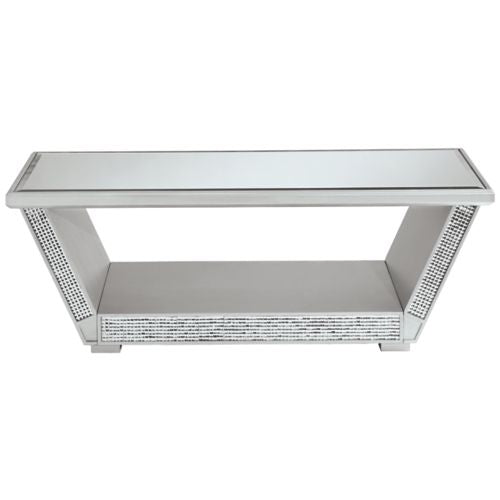 Fanmory Silver Finish Rectangular Cocktail Table