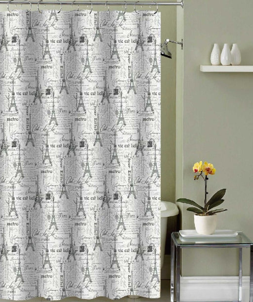 TRACY CANVAS SHOWER CURTAIN 12 METAL ROLLER HOOKS