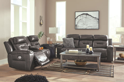 Pomellato Gray Leather 2 Piece Living Room Set