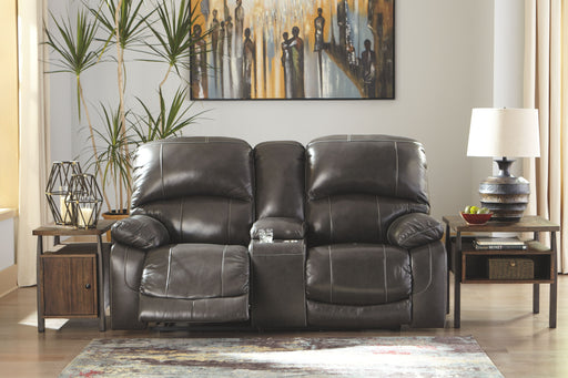 Hallstrung Gray Leather Power Love Seat