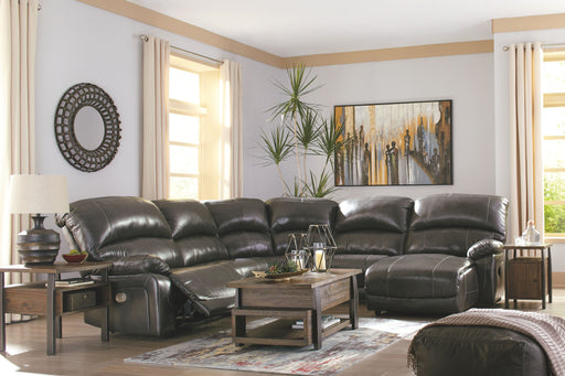 Hallstrung Gray Leather 5 Piece Sectional