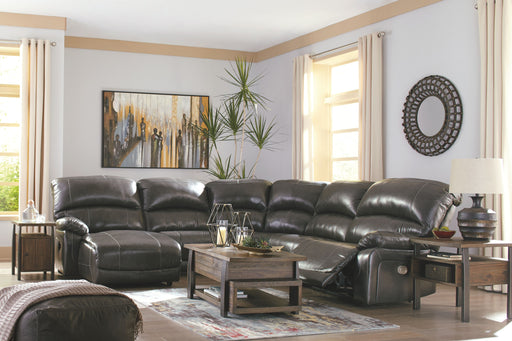 Hallstrung Gray Leather 6 Piece Sectional