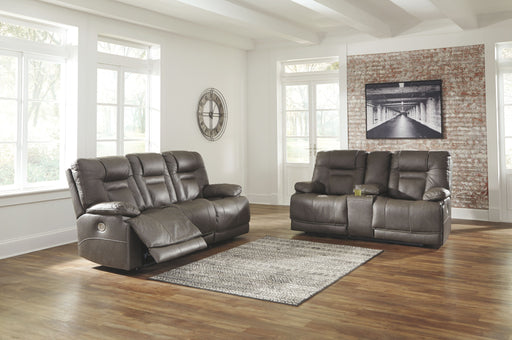 Wurstrow Smoke Leather 2 Piece Living Room Set