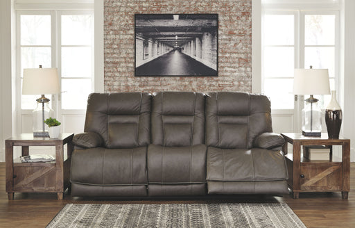Wurstrow Smoke Leather Power Sofa