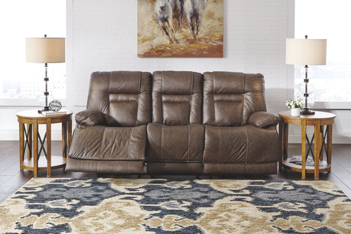 Wurstrow Umber Leather Power Sofa