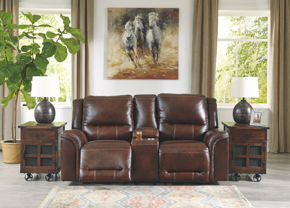 Catanzaro Mahogany Leather Power Love Seat