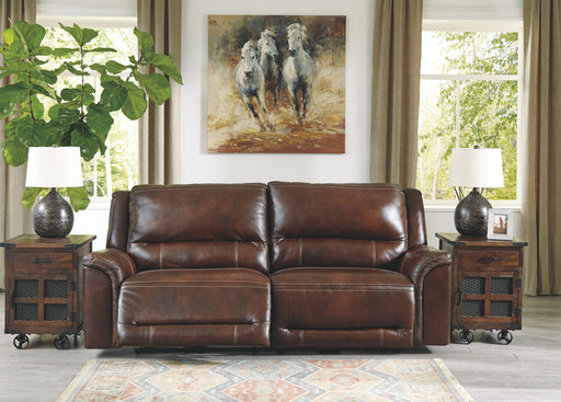 Catanzaro Mahogany Leather Power Sofa