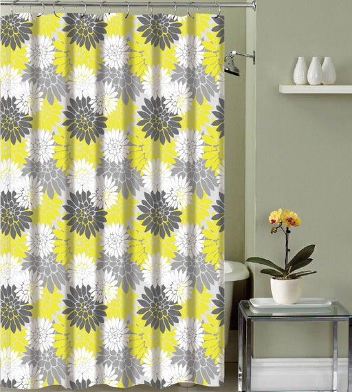 VALENTINA CANVAS SHOWER CURTAIN & 12 METAL ROLLER HOOKS