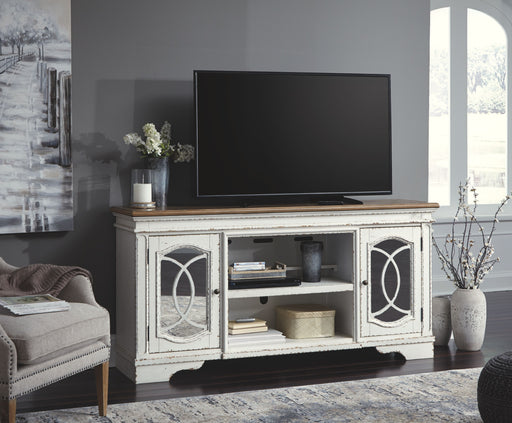 Realyn Chipped White TV Stand