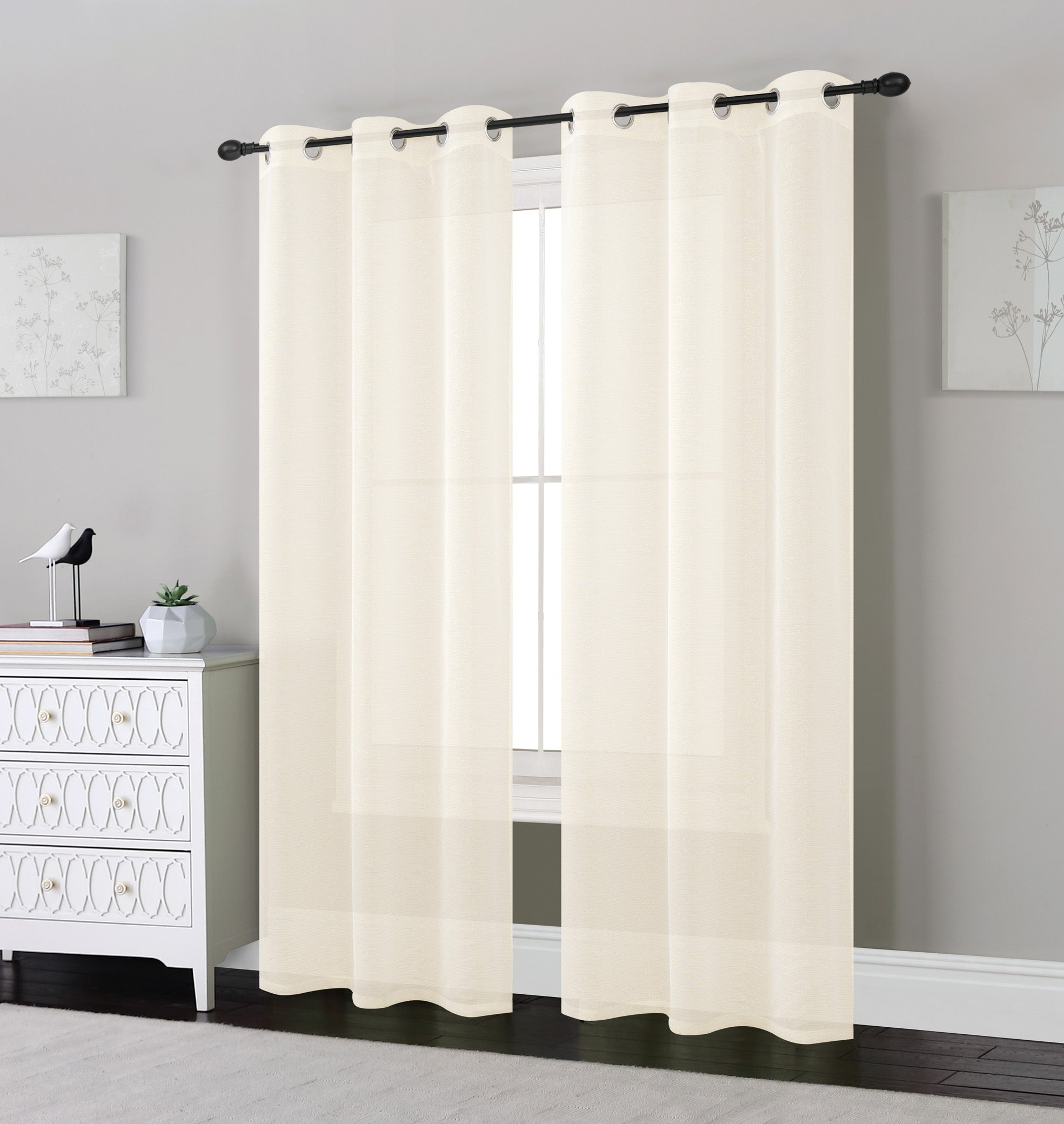 Madeline 2 Pack Window Panels with Lurex Stripes
