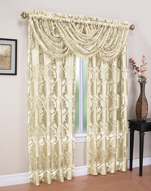 MILAWI JACQUARD SHEER ROD POCKET VALANCE