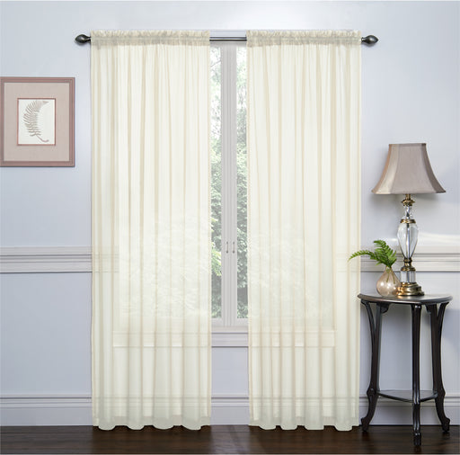 2 Pack: Ultra Luxurious High Thread Rod Pocket Sheer Voile Window Curtains Assorted Colors
