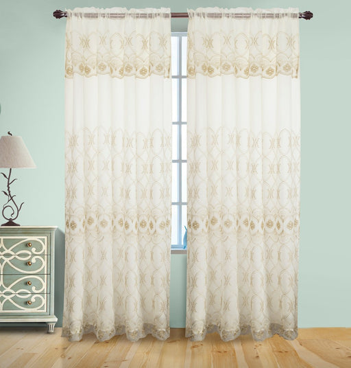 JOSEPHINE EMBROIDERED RODPOCKET PANEL WITH ATTACHED VALANCE & BACKING