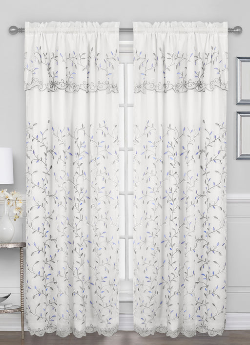 Elegance Rod Pocket Embroidered Window Panel with Attached Valance
