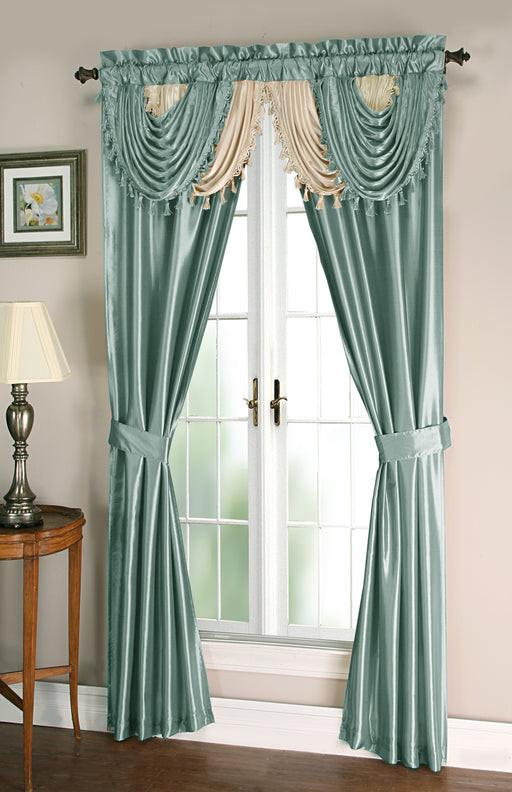 "Amore 5 piece set (valance,2 tie backs, 2 panels) 84"" length"