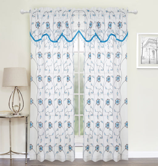 SALISBURY EMBROIDERED ROD POCKET WINDOW VALANCE