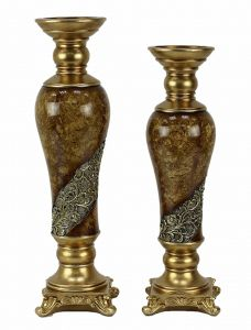 Torina Design Two Piece Hurricane Candle Stick Set