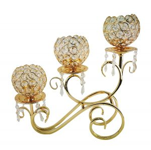 D'Lusso Design 3 Ball Swirl Metal Candle Holder Gold