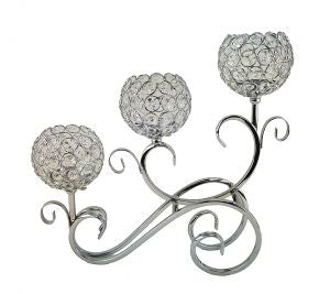 D'Lusso Designs 3 Ball Swirl Metal Candle Holder Silver
