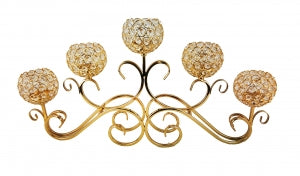 Gold 5 Ball Swirl Metal Candle Holder