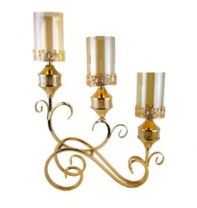 D'Lusso Designs 3 Cylinder Deco Swirl Metal Candle Holder Gold