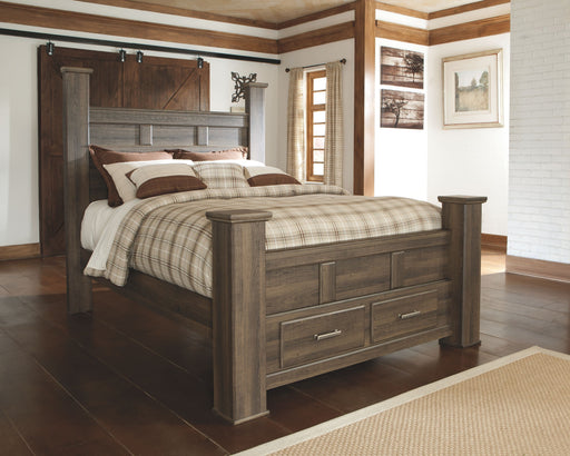 Juararo Queen Poster Bed with Footboard Storage