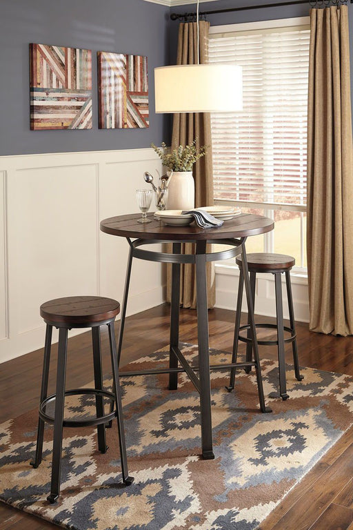 Challiman Rustic Brown 3 Piece Round Dining Set