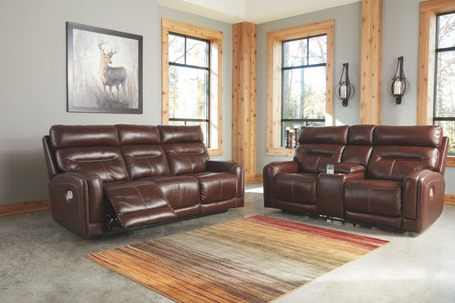 Sessom Walnut Power Reclining Sofa and Loveseat with Adjustable Headrests