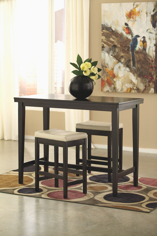 Kimonte Dark Brown/Ivory 3 Piece Dining Set