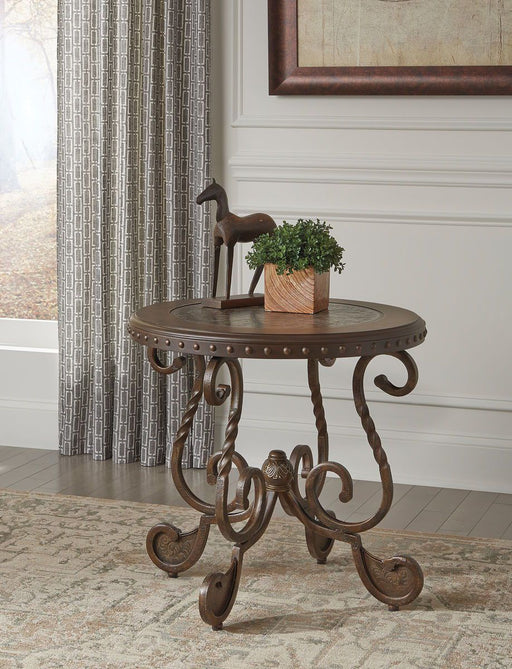 Rafferty Dark Brown Round End Table