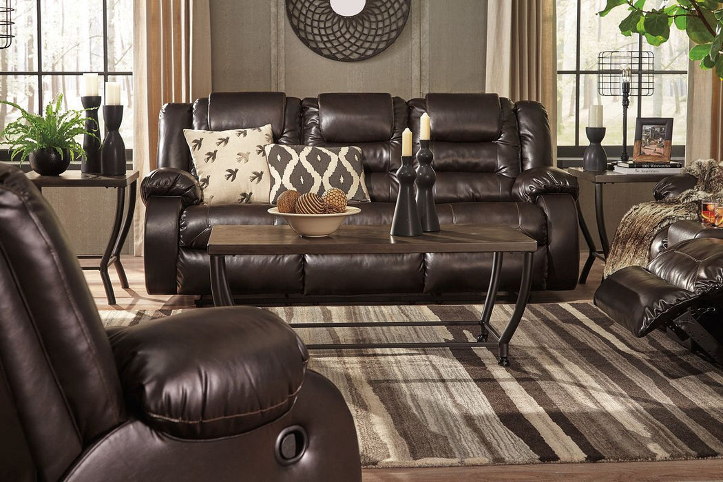 Remarkable Vacherie Chocolate Reclining Sofa Double Reclining Loveseat With Console Gmtry Best Dining Table And Chair Ideas Images Gmtryco