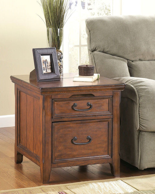 Woodboro Dark Brown Media End Table