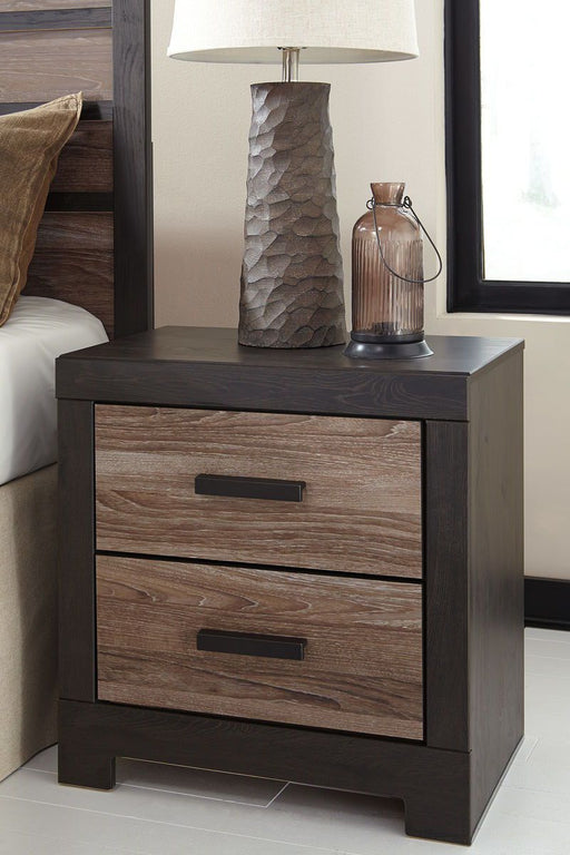 Harlinton Warm Gray/Charcoal Two Drawer Night Stand