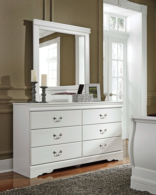 Anarasia White Dresser and Mirror