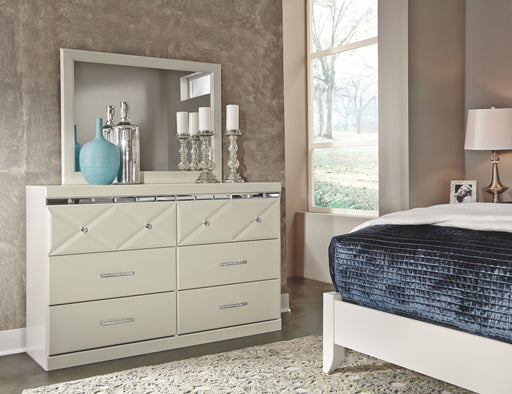 Dreamur Champagne Dresser and Mirror
