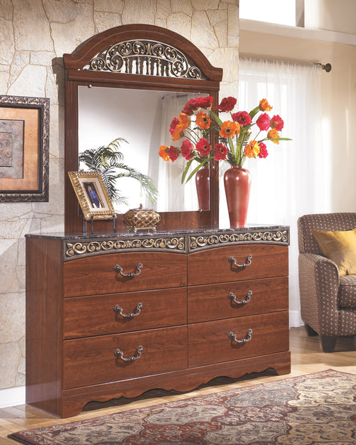 Fairbrooks Estate Reddish Brown Dresser and Mirror