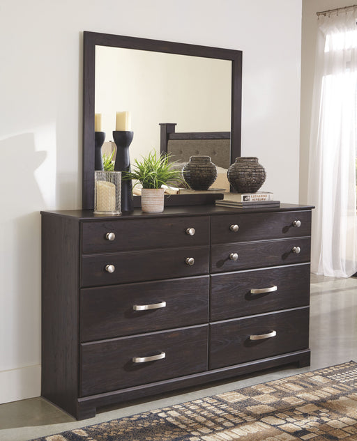 Reylow Dark Brown Dresser and Mirror