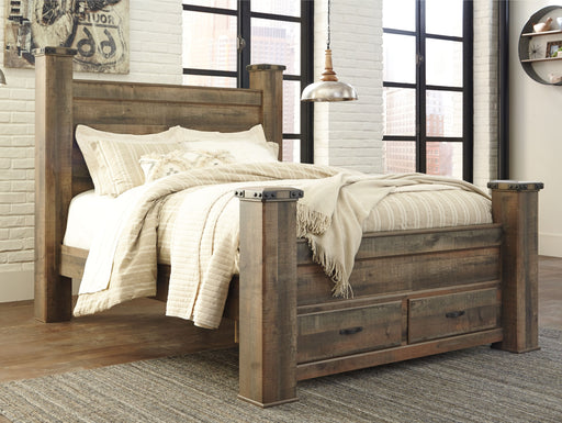Trinell Brown Queen Poster Storage Bed