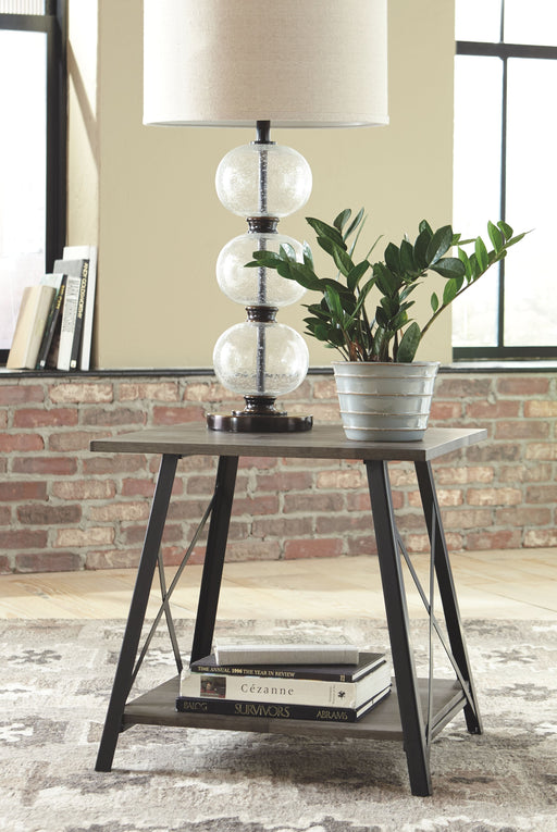 Harzoni Grayish Brown Square End Table
