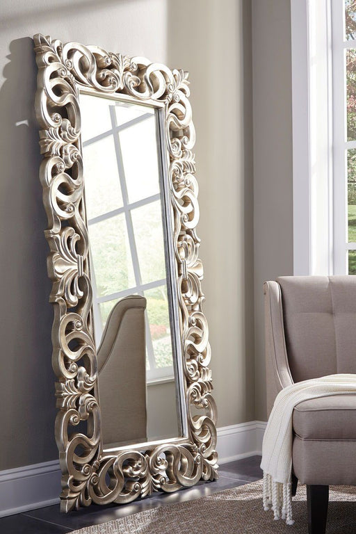Lucia Antique Silver Finish Floor Mirror