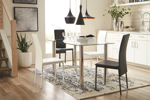 Sariden Chrome Finish 5 Piece Dining Room Set
