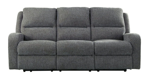 Krismen Charcoal Power Reclining Sofa with Adjustable Headrest
