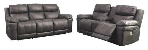 Erlangen Midnight Power Reclining Sofa and Loveseat with Adjustable Headrests