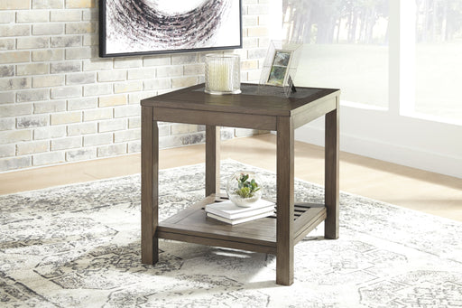 Deylin Grayish Brown Rectangular End Table