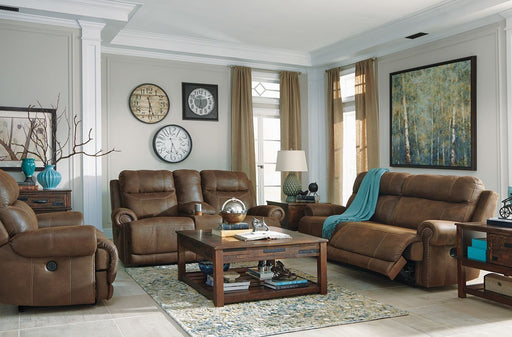 Austere Brown 2 Seat Reclining Power Sofa & Reclining Power Loveseat with Console