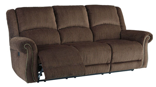 Goodlow Chocolate Power Reclining Sofa with Adjustable Headrest