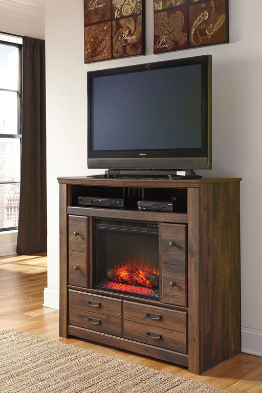 Quinden Dark Brown Media Chest with Glass/Stone Fireplace Insert