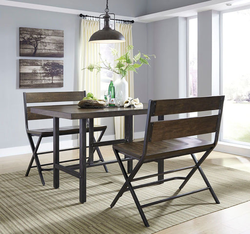 Kavara Medium Brown 3 Piece Rectangular Dining Set