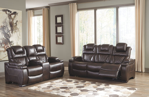 Warnerton Chocolate Power Reclining Sofa and Loveseat with Adjustable Headrests