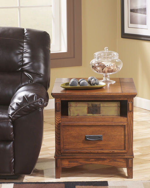 Cross Island Medium Brown Rectangular End Table